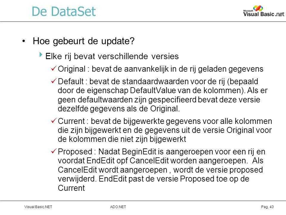 ADO.NETVisual Basic.NETPag.43 De DataSet Hoe gebeurt de update.