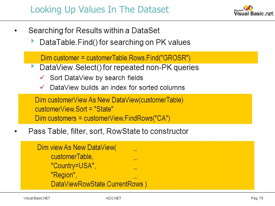 ADO.NETVisual Basic.NETPag. 79 Looking Up Values In The Dataset Searching for Results within a DataSet  DataTable.Find() for searching on PK values 