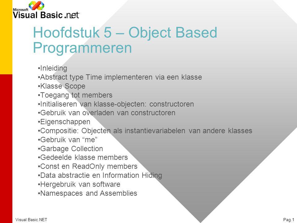 Visual Basic.NETPag.1 Hoofdstuk 5 – Object Based Programmeren Inleiding Abstract type Time implementeren via een klasse Klasse Scope Toegang tot membe
