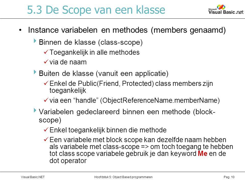 Hoofdstuk 5: Object Based programmerenVisual Basic.NETPag. 10 5.3 De Scope van een klasse Instance variabelen en methodes (members genaamd)  Binnen d