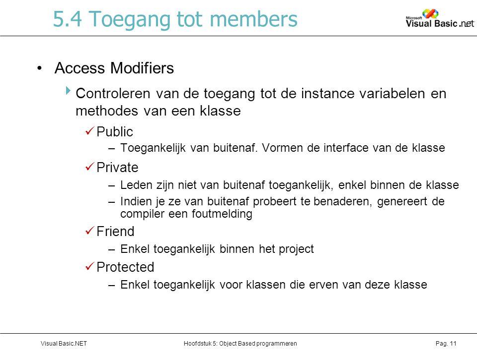 Hoofdstuk 5: Object Based programmerenVisual Basic.NETPag. 11 5.4 Toegang tot members Access Modifiers  Controleren van de toegang tot de instance va