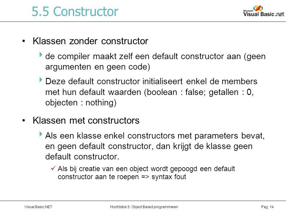 Hoofdstuk 5: Object Based programmerenVisual Basic.NETPag. 14 5.5 Constructor Klassen zonder constructor  de compiler maakt zelf een default construc