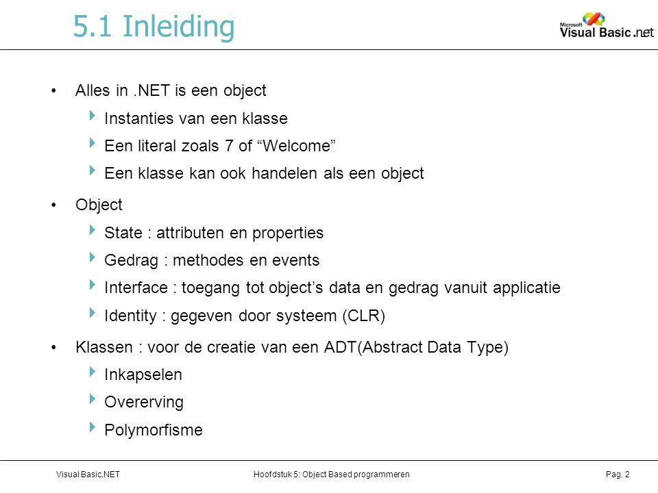 Hoofdstuk 5: Object Based programmerenVisual Basic.NETPag. 2 5.1 Inleiding Alles in.NET is een object  Instanties van een klasse  Een literal zoals