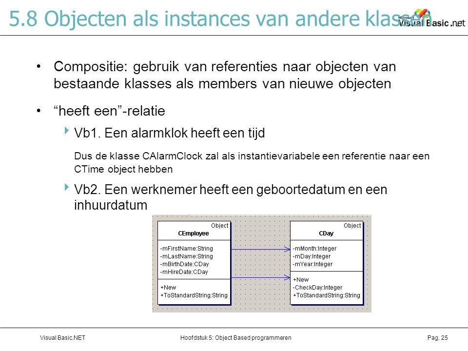 Hoofdstuk 5: Object Based programmerenVisual Basic.NETPag. 25 5.8 Objecten als instances van andere klassen Compositie: gebruik van referenties naar o