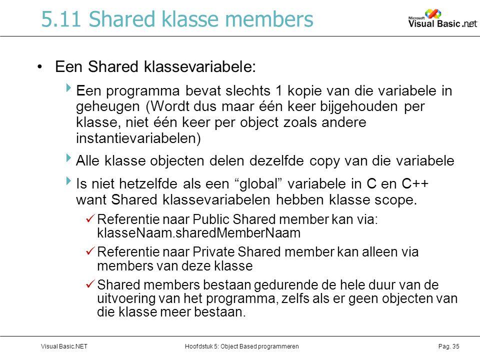 Hoofdstuk 5: Object Based programmerenVisual Basic.NETPag. 35 5.11 Shared klasse members Een Shared klassevariabele:  Een programma bevat slechts 1 k