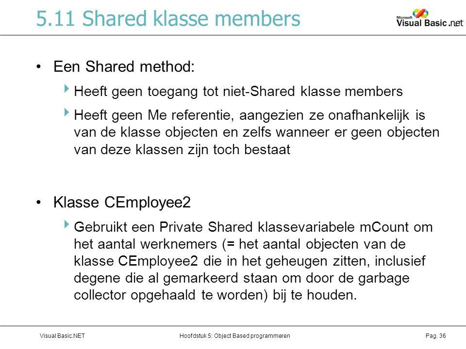 Hoofdstuk 5: Object Based programmerenVisual Basic.NETPag. 36 5.11 Shared klasse members Een Shared method:  Heeft geen toegang tot niet-Shared klass