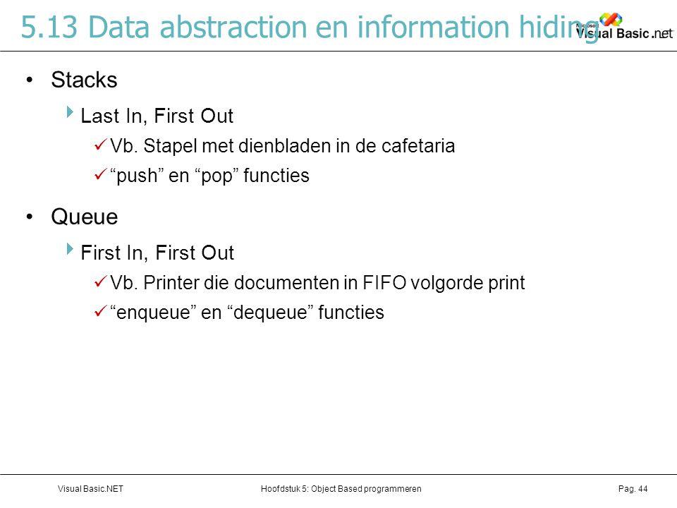 Hoofdstuk 5: Object Based programmerenVisual Basic.NETPag. 44 5.13 Data abstraction en information hiding Stacks  Last In, First Out Vb. Stapel met d