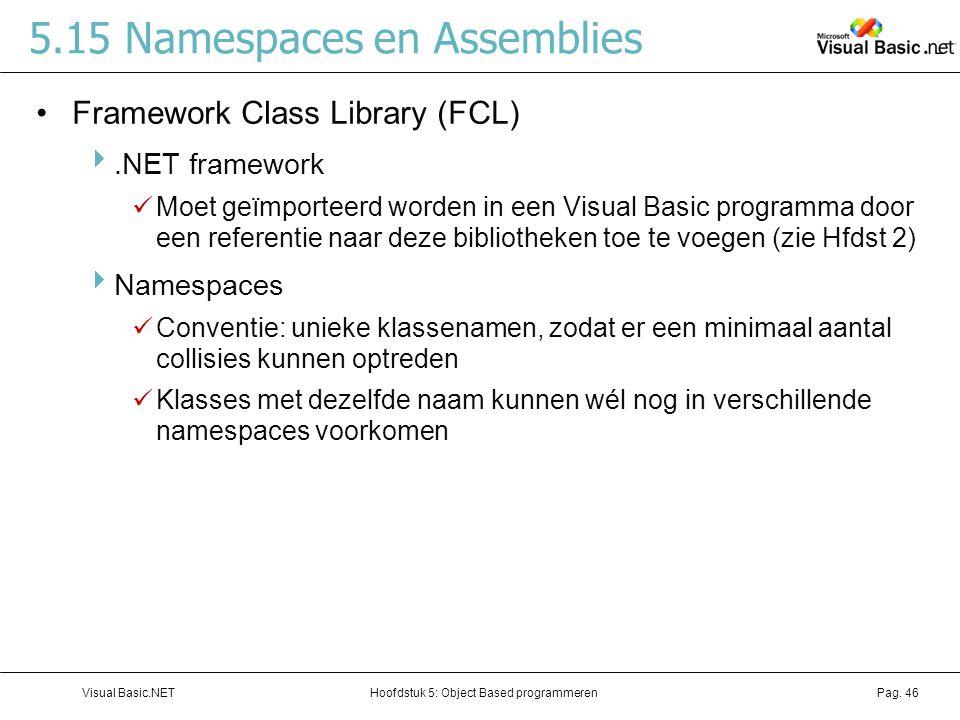 Hoofdstuk 5: Object Based programmerenVisual Basic.NETPag. 46 5.15 Namespaces en Assemblies Framework Class Library (FCL) .NET framework Moet geïmpor