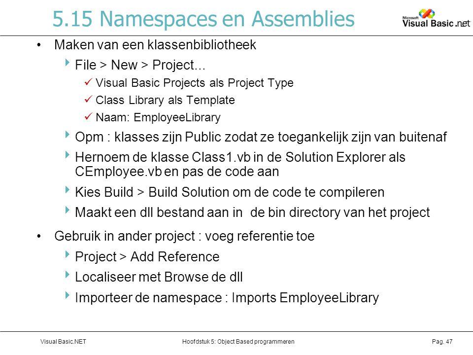 Hoofdstuk 5: Object Based programmerenVisual Basic.NETPag. 47 5.15 Namespaces en Assemblies Maken van een klassenbibliotheek  File > New > Project...