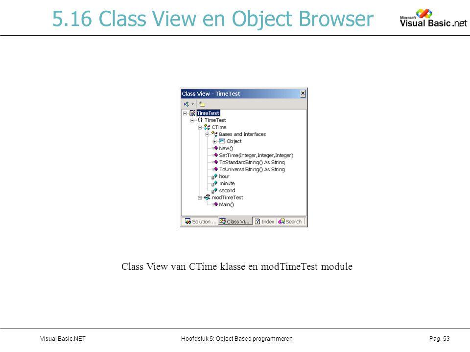 Hoofdstuk 5: Object Based programmerenVisual Basic.NETPag. 53 5.16 Class View en Object Browser Class View van CTime klasse en modTimeTest module