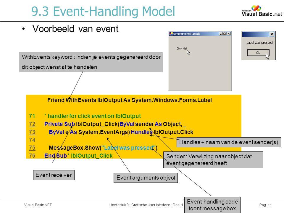 Hoofdstuk 9 : Grafische User Interface : Deel 1Visual Basic.NETPag. 11 9.3 Event-Handling Model Voorbeeld van event Friend WithEvents lblOutput As Sys