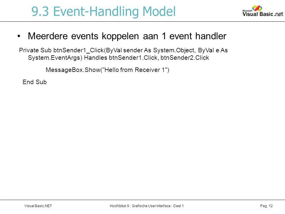Hoofdstuk 9 : Grafische User Interface : Deel 1Visual Basic.NETPag. 12 9.3 Event-Handling Model Meerdere events koppelen aan 1 event handler Private S