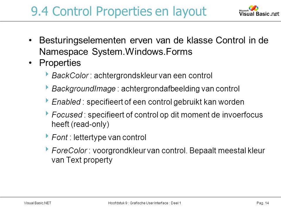 Hoofdstuk 9 : Grafische User Interface : Deel 1Visual Basic.NETPag. 14 9.4 Control Properties en layout Besturingselementen erven van de klasse Contro