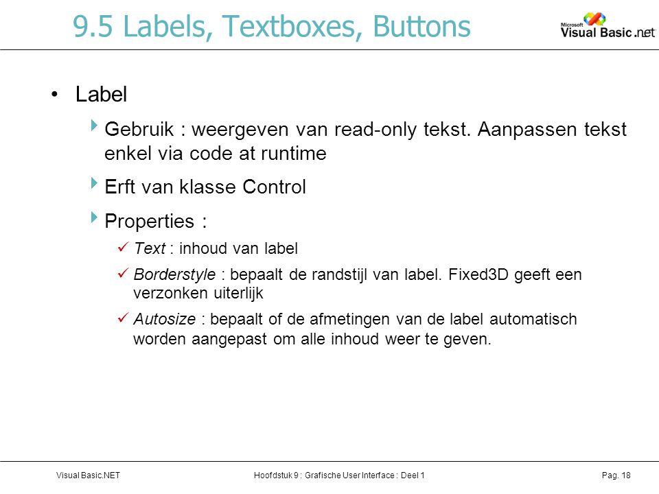 Hoofdstuk 9 : Grafische User Interface : Deel 1Visual Basic.NETPag. 18 9.5 Labels, Textboxes, Buttons Label  Gebruik : weergeven van read-only tekst.