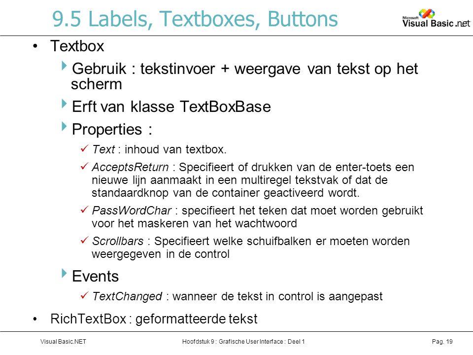 Hoofdstuk 9 : Grafische User Interface : Deel 1Visual Basic.NETPag. 19 9.5 Labels, Textboxes, Buttons Textbox  Gebruik : tekstinvoer + weergave van t