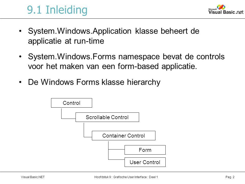 Hoofdstuk 9 : Grafische User Interface : Deel 1Visual Basic.NETPag. 2 9.1 Inleiding System.Windows.Application klasse beheert de applicatie at run-tim