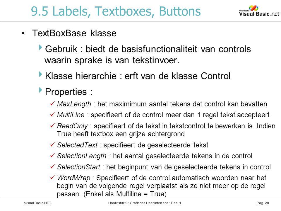 Hoofdstuk 9 : Grafische User Interface : Deel 1Visual Basic.NETPag. 20 9.5 Labels, Textboxes, Buttons TextBoxBase klasse  Gebruik : biedt de basisfun