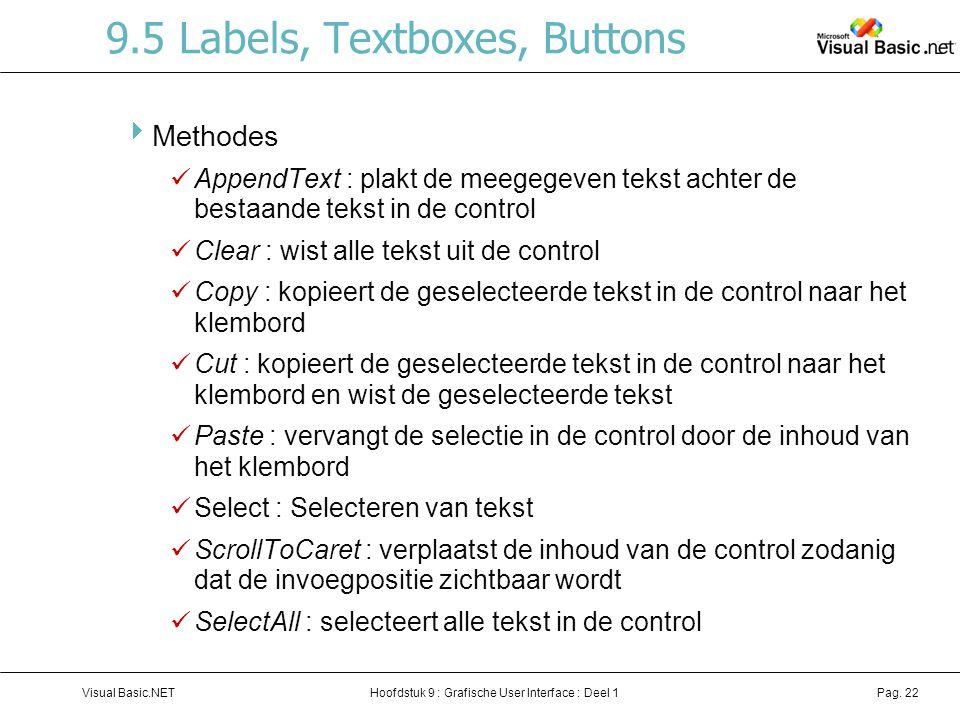 Hoofdstuk 9 : Grafische User Interface : Deel 1Visual Basic.NETPag. 22 9.5 Labels, Textboxes, Buttons  Methodes AppendText : plakt de meegegeven teks