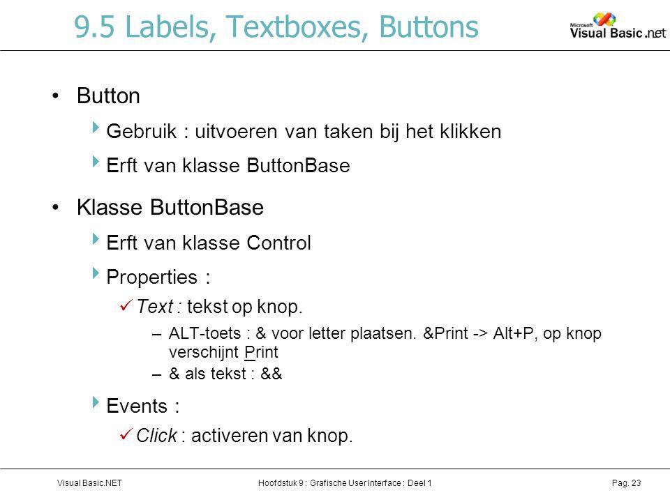 Hoofdstuk 9 : Grafische User Interface : Deel 1Visual Basic.NETPag. 23 9.5 Labels, Textboxes, Buttons Button  Gebruik : uitvoeren van taken bij het k