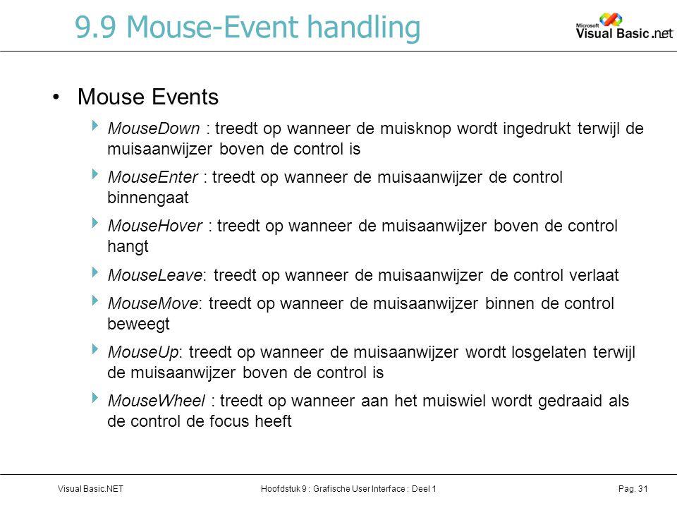 Hoofdstuk 9 : Grafische User Interface : Deel 1Visual Basic.NETPag. 31 9.9 Mouse-Event handling Mouse Events  MouseDown : treedt op wanneer de muiskn