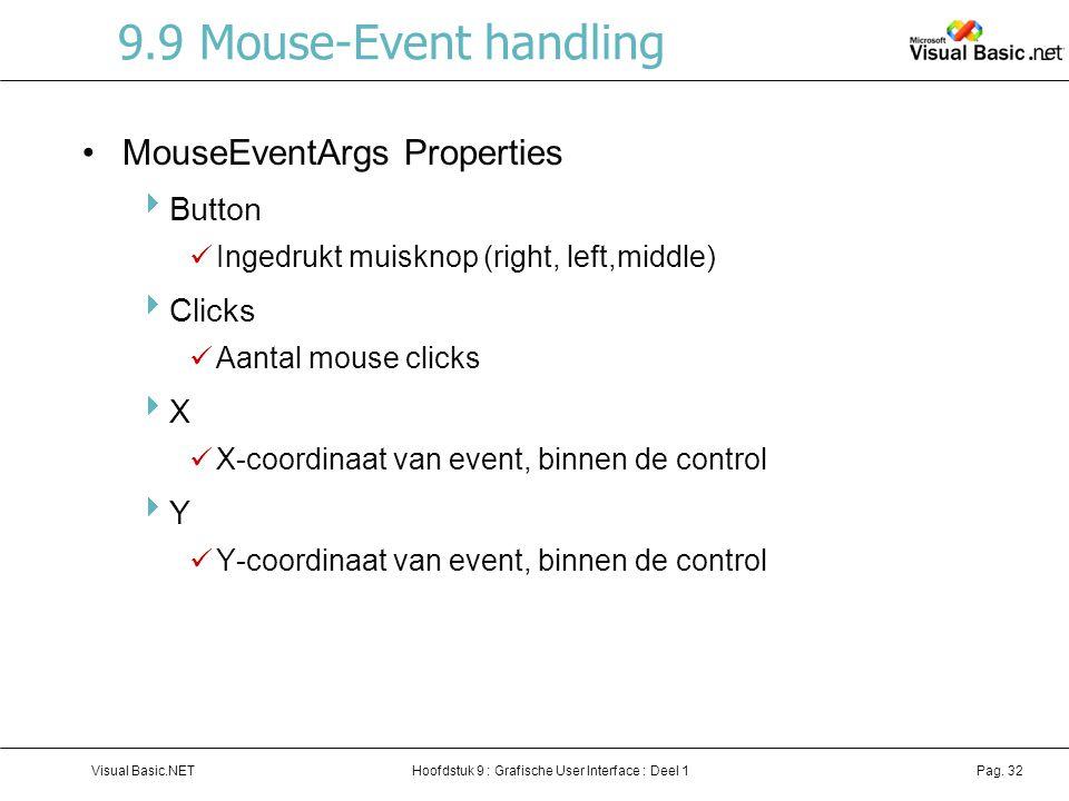 Hoofdstuk 9 : Grafische User Interface : Deel 1Visual Basic.NETPag. 32 9.9 Mouse-Event handling MouseEventArgs Properties  Button Ingedrukt muisknop