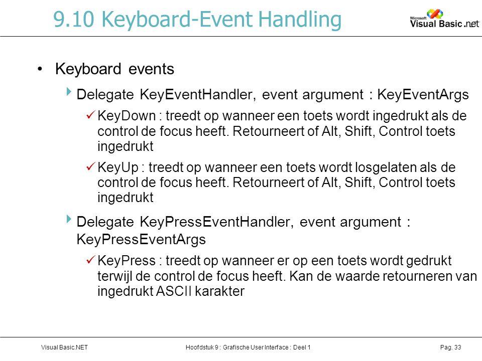 Hoofdstuk 9 : Grafische User Interface : Deel 1Visual Basic.NETPag. 33 9.10 Keyboard-Event Handling Keyboard events  Delegate KeyEventHandler, event