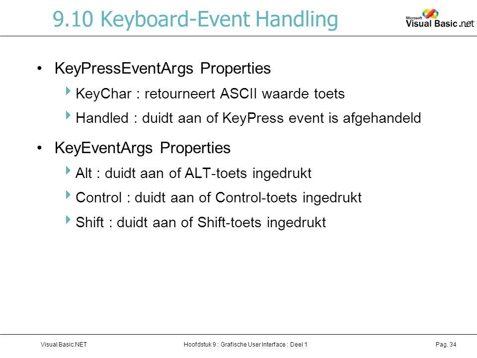 Hoofdstuk 9 : Grafische User Interface : Deel 1Visual Basic.NETPag. 34 9.10 Keyboard-Event Handling KeyPressEventArgs Properties  KeyChar : retournee