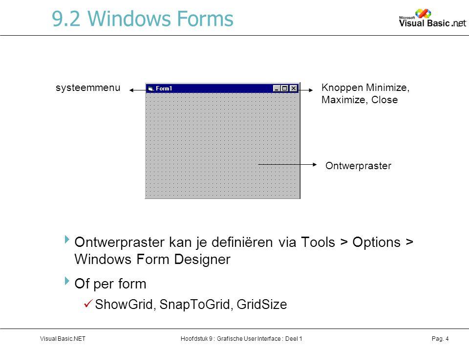 Hoofdstuk 9 : Grafische User Interface : Deel 1Visual Basic.NETPag. 4 9.2 Windows Forms  Ontwerpraster kan je definiëren via Tools > Options > Window
