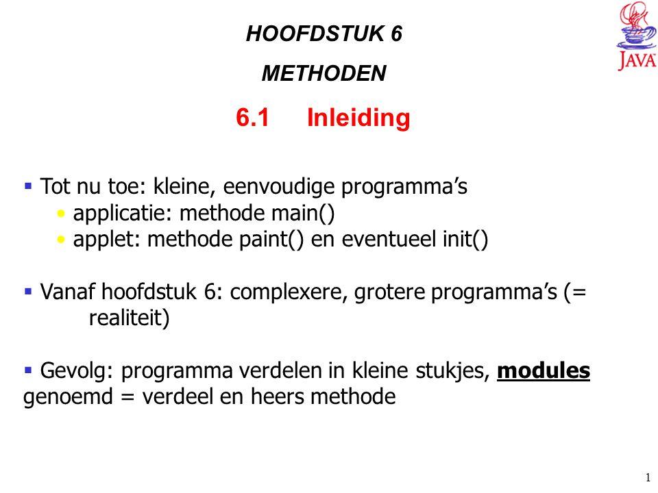 1 HOOFDSTUK 6 METHODEN 6.1 Inleiding  Tot nu toe: kleine, eenvoudige programma's applicatie: methode main() applet: methode paint() en eventueel init