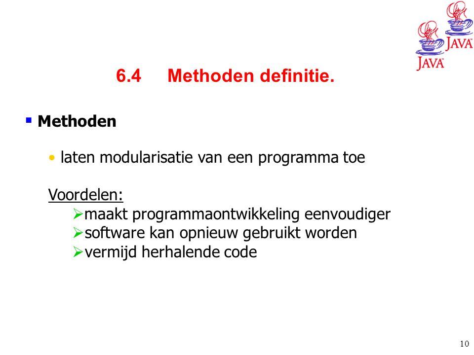 10  Methoden laten modularisatie van een programma toe Voordelen:  maakt programmaontwikkeling eenvoudiger  software kan opnieuw gebruikt worden 