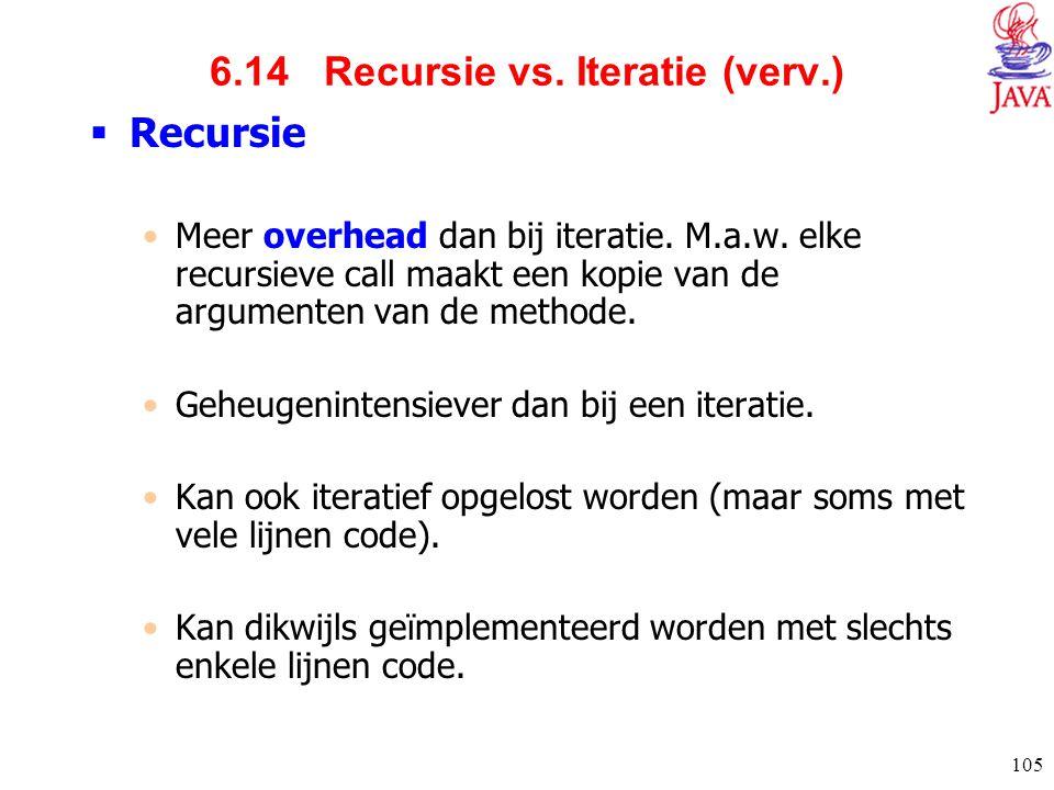 105 6.14 Recursie vs. Iteratie (verv.)  Recursie Meer overhead dan bij iteratie. M.a.w. elke recursieve call maakt een kopie van de argumenten van de
