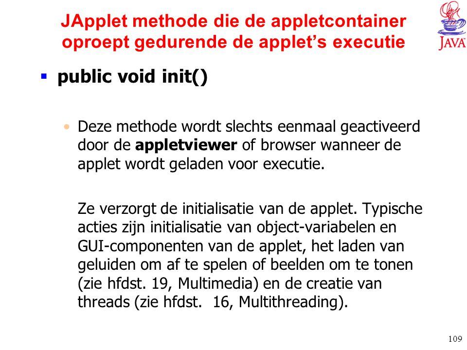 109 JApplet methode die de appletcontainer oproept gedurende de applet's executie  public void init() Deze methode wordt slechts eenmaal geactiveerd