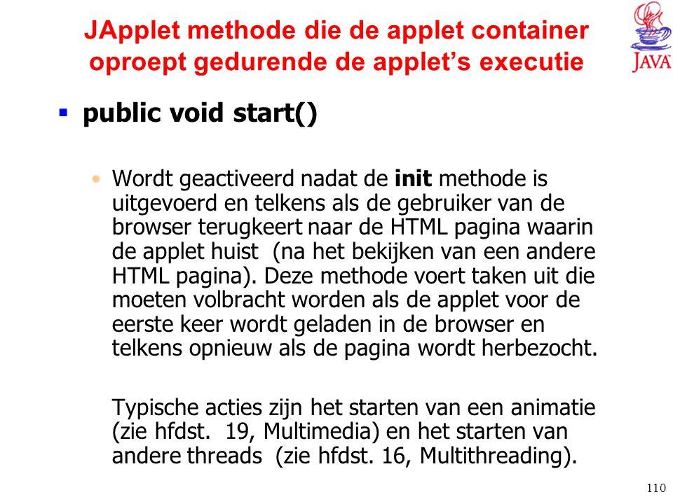 110 JApplet methode die de applet container oproept gedurende de applet's executie  public void start() Wordt geactiveerd nadat de init methode is ui