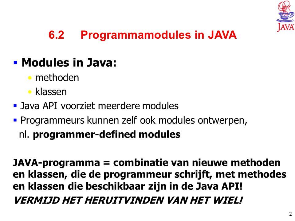 2 6.2 Programmamodules in JAVA  Modules in Java: methoden klassen  Java API voorziet meerdere modules  Programmeurs kunnen zelf ook modules ontwerp