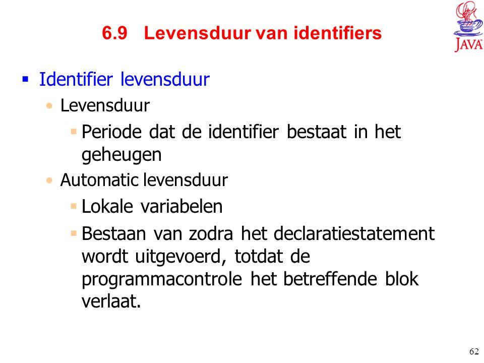 62 6.9 Levensduur van identifiers  Identifier levensduur Levensduur  Periode dat de identifier bestaat in het geheugen Automatic levensduur  Lokale