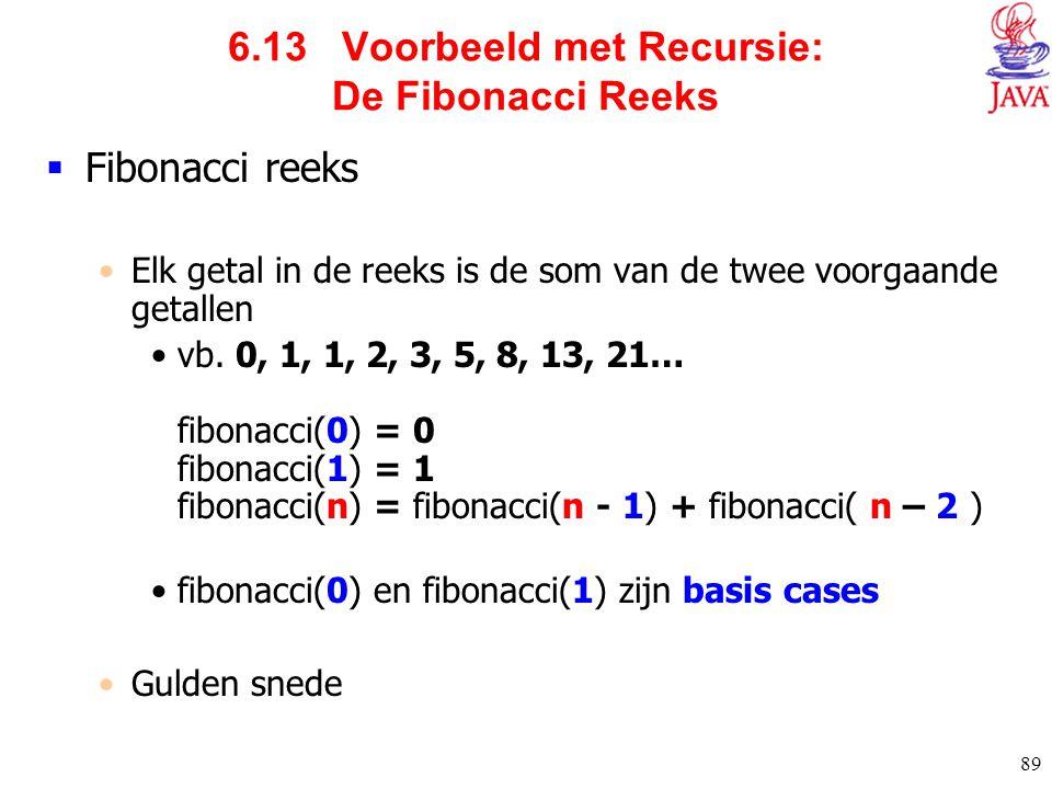 89 6.13 Voorbeeld met Recursie: De Fibonacci Reeks  Fibonacci reeks Elk getal in de reeks is de som van de twee voorgaande getallen vb. 0, 1, 1, 2, 3