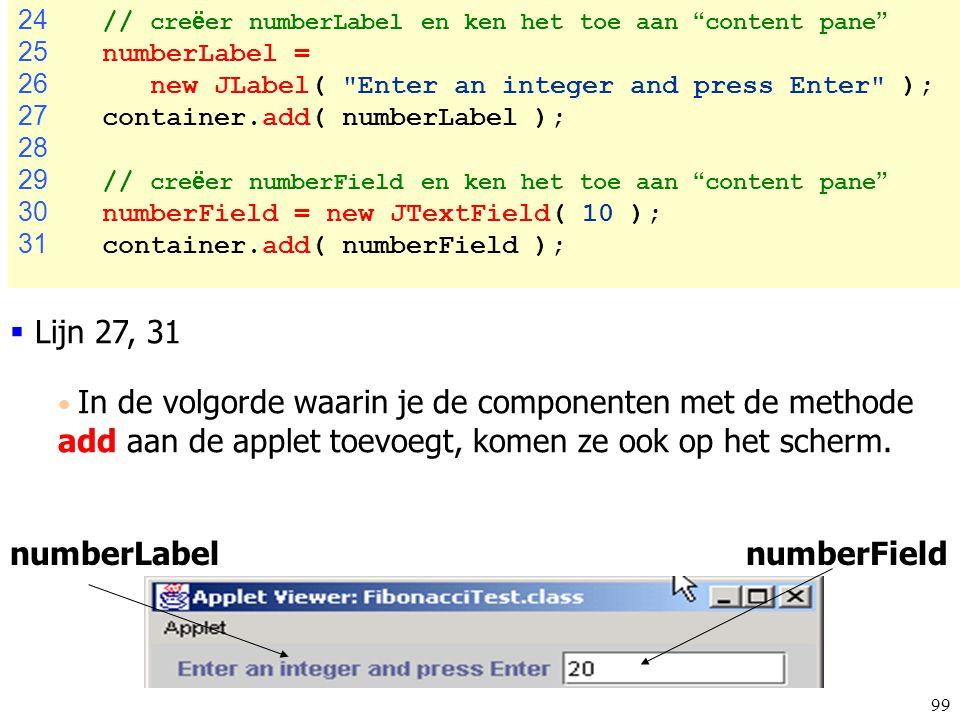 """99 FibonacciTest.ja va 24 // cre ë er numberLabel en ken het toe aan """" content pane """" 25 numberLabel = 26 new JLabel("""