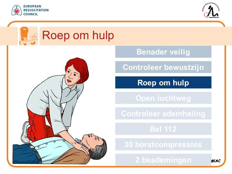 Roep om hulp Approach safely Benader veilig Controleer bewustzijn Roep om hulp Open luchtweg Controleer ademhaling Bel 112 30 borstcompressies 2 beade