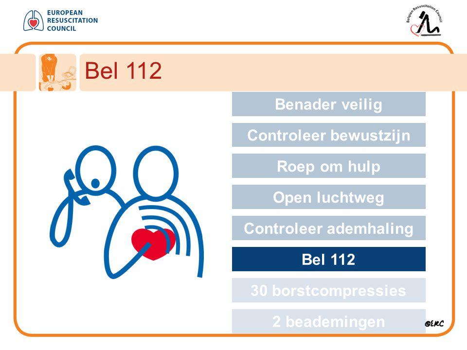 Approach safely Bel 112 Benader veilig Controleer bewustzijn Roep om hulp Open luchtweg Controleer ademhaling Bel 112 30 borstcompressies 2 beademinge