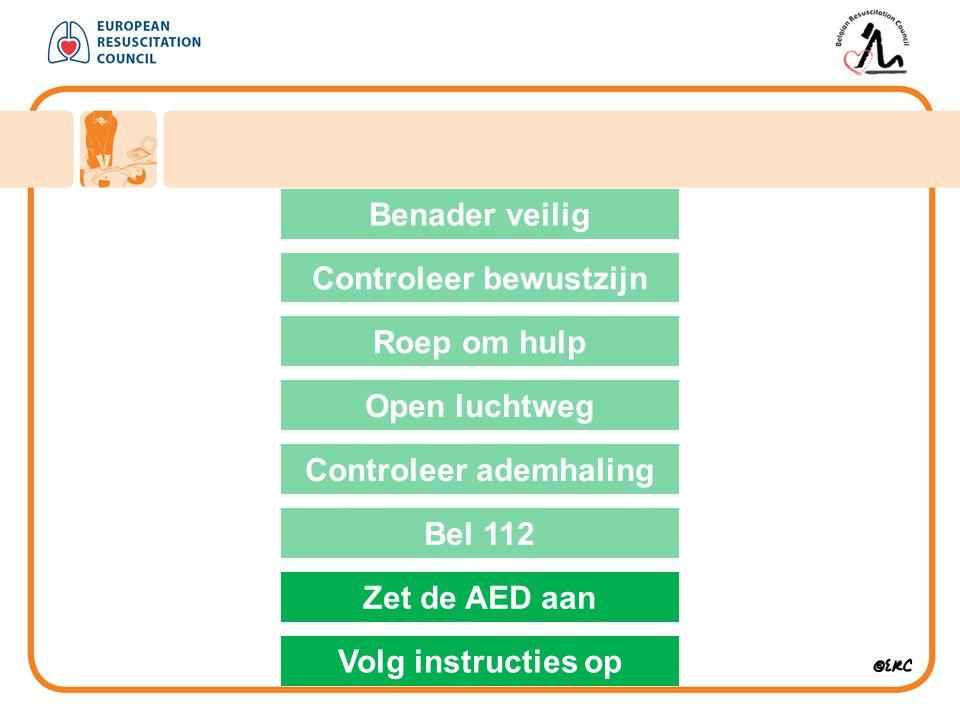 Benader veilig Controleer bewustzijn Roep om hulp Open luchtweg Controleer ademhaling Bel 112 Zet de AED aan Volg instructies op