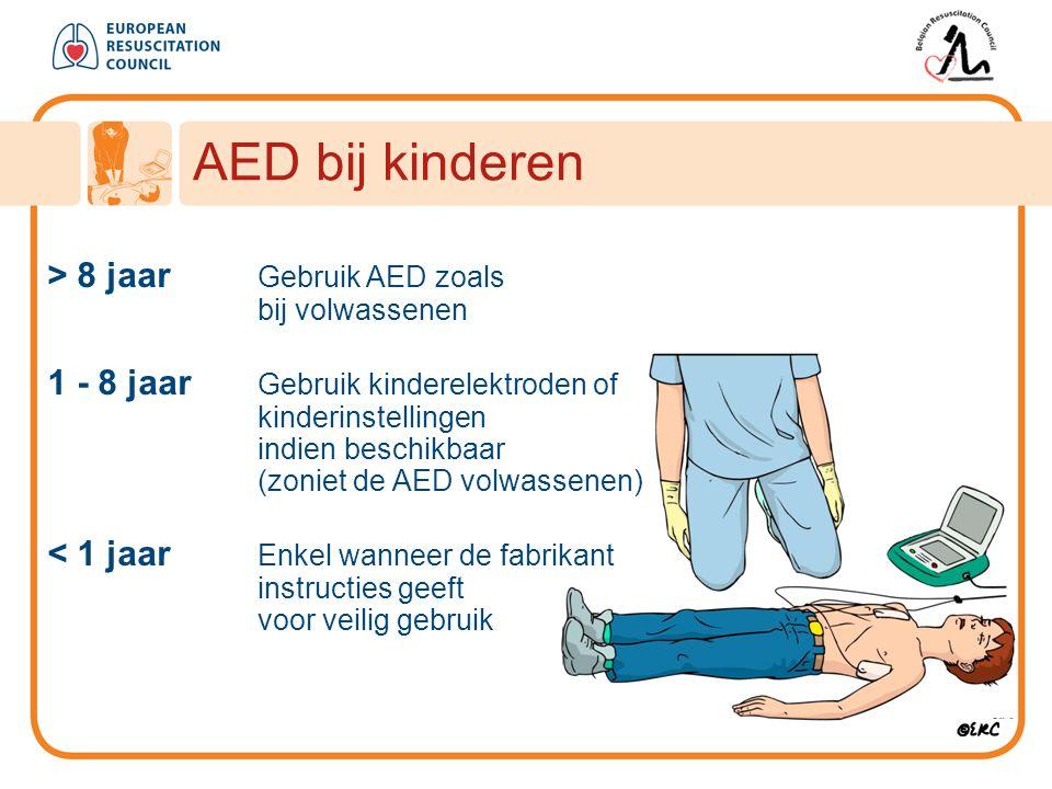 > 8 jaar Gebruik AED zoals bij volwassenen 1 - 8 jaar Gebruik kinderelektroden of kinderinstellingen indien beschikbaar (zoniet de AED volwassenen) <