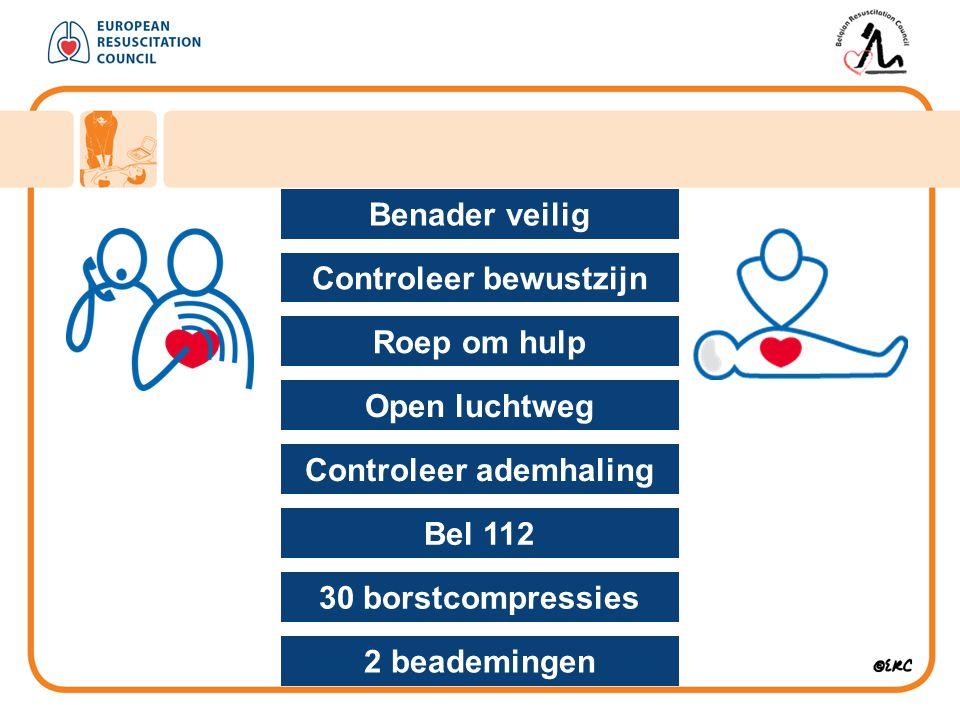 Benader veilig Voor : hulpverlener omstanders slachtoffer Benader veilig Controleer bewustzijn Roep om hulp Open luchtweg Controleer ademhaling Bel 112 30 borstcompressies 2 beademingen