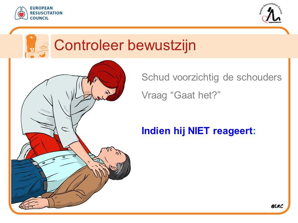 Roep om hulp Approach safely Benader veilig Controleer bewustzijn Roep om hulp Open luchtweg Controleer ademhaling Bel 112 30 borstcompressies 2 beademingen