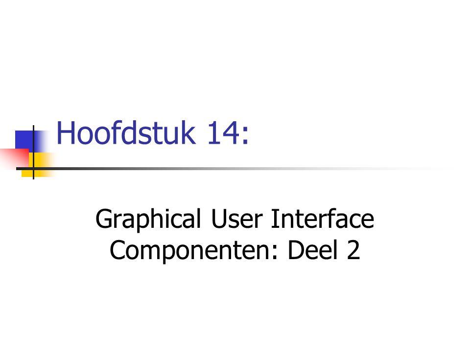 24 // set up mouse motion event handling 25 addMouseMotionListener( 26 27 new MouseMotionListener() { // anonymous inner class 28 29 // handle mouse drag event 30 public void mouseDragged( MouseEvent event ) 31 { 32 setTitle( Dragging: x= + event.getX() + 33 ; y= + event.getY() ); 34 } 35 36 // handle mouse move event 37 public void mouseMoved( MouseEvent event ) 38 { 39 setTitle( Moving: x= + event.getX() + 40 ; y= + event.getY() ); 41 } 42 43 } // end anonymous inner class 44 45 ); // end call to addMouseMotionListener 46 47 setSize( 300, 200 ); 48 setVisible( true ); 49 50 } // end constructor SelfContainedPanelTest Registreer een anoniem inner-class object voor het behandelen van de events van de muisbewegingen Toont een String in de title bar met de x-y coördinaat waar een event van de muisbeweging plaatsvond