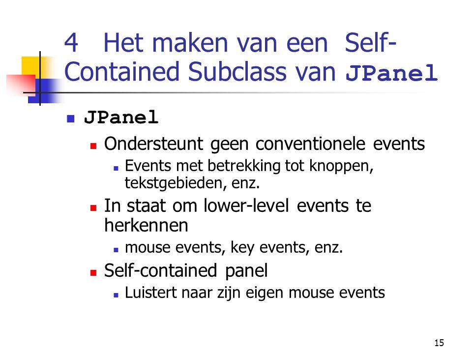 15 4 Het maken van een Self- Contained Subclass van JPanel JPanel Ondersteunt geen conventionele events Events met betrekking tot knoppen, tekstgebieden, enz.