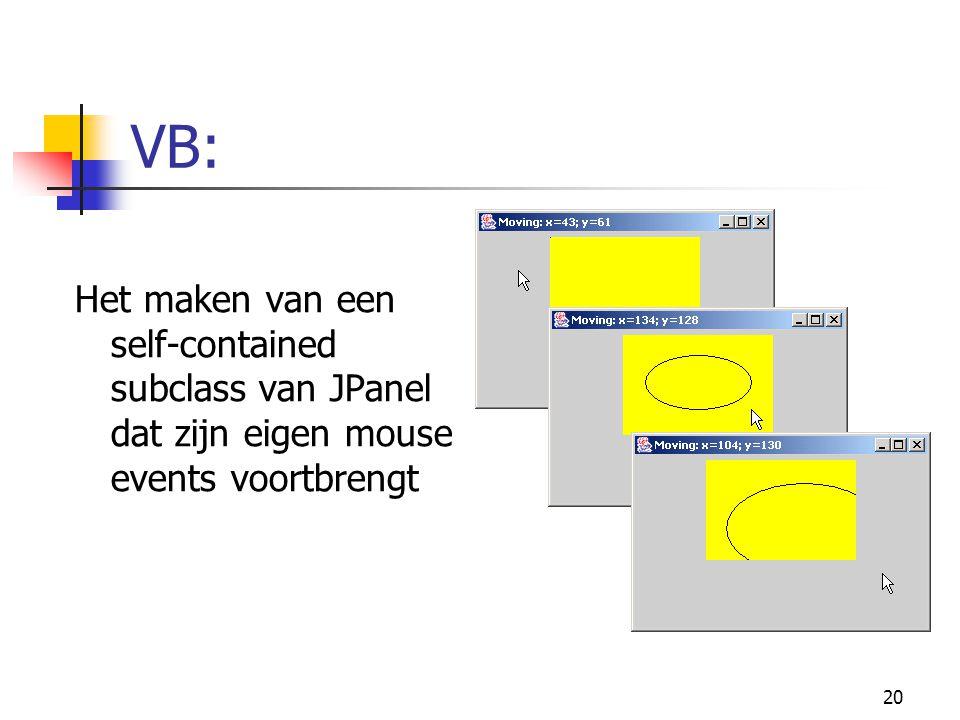 20 VB: Het maken van een self-contained subclass van JPanel dat zijn eigen mouse events voortbrengt