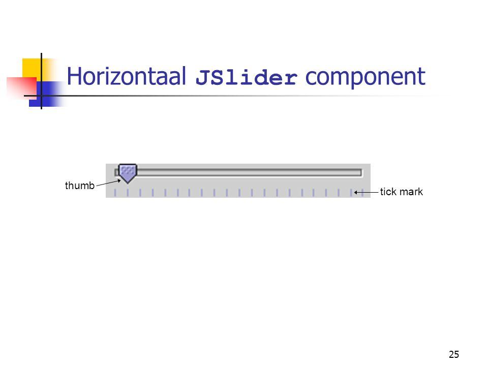25 Horizontaal JSlider component thumb tick mark