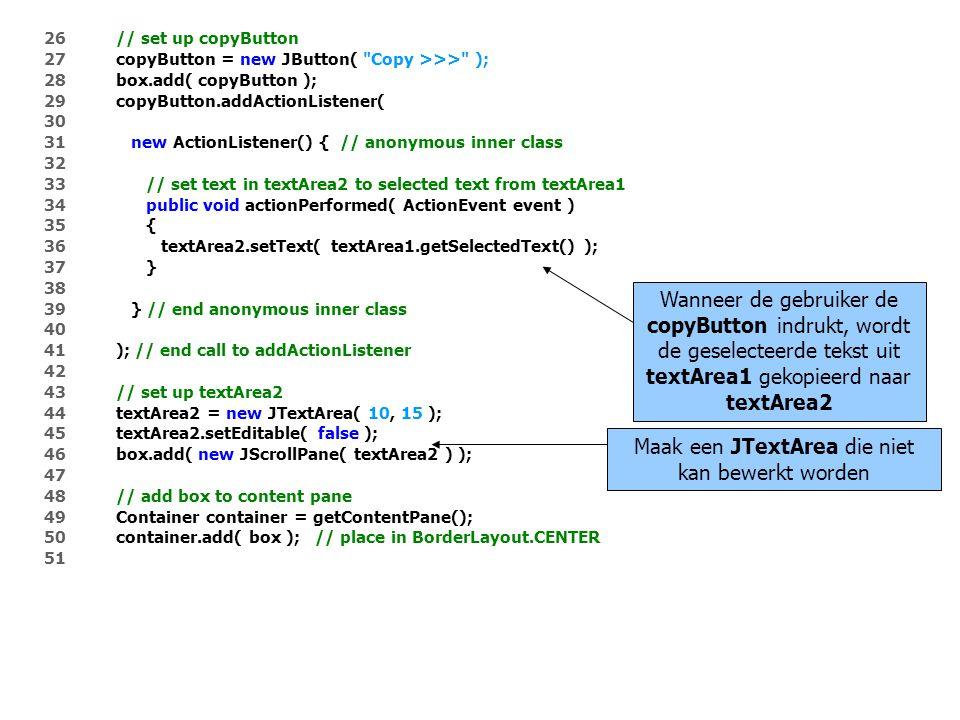 52 setSize( 425, 200 ); 53 setVisible( true ); 54 55 } // end constructor TextAreaDemo 56 57 public static void main( String args[] ) 58 { 59 TextAreaDemo application = new TextAreaDemo(); 60 application.setDefaultCloseOperation( JFrame.EXIT_ON_CLOSE ); 61 } 62 63 } // end class TextAreaDemo