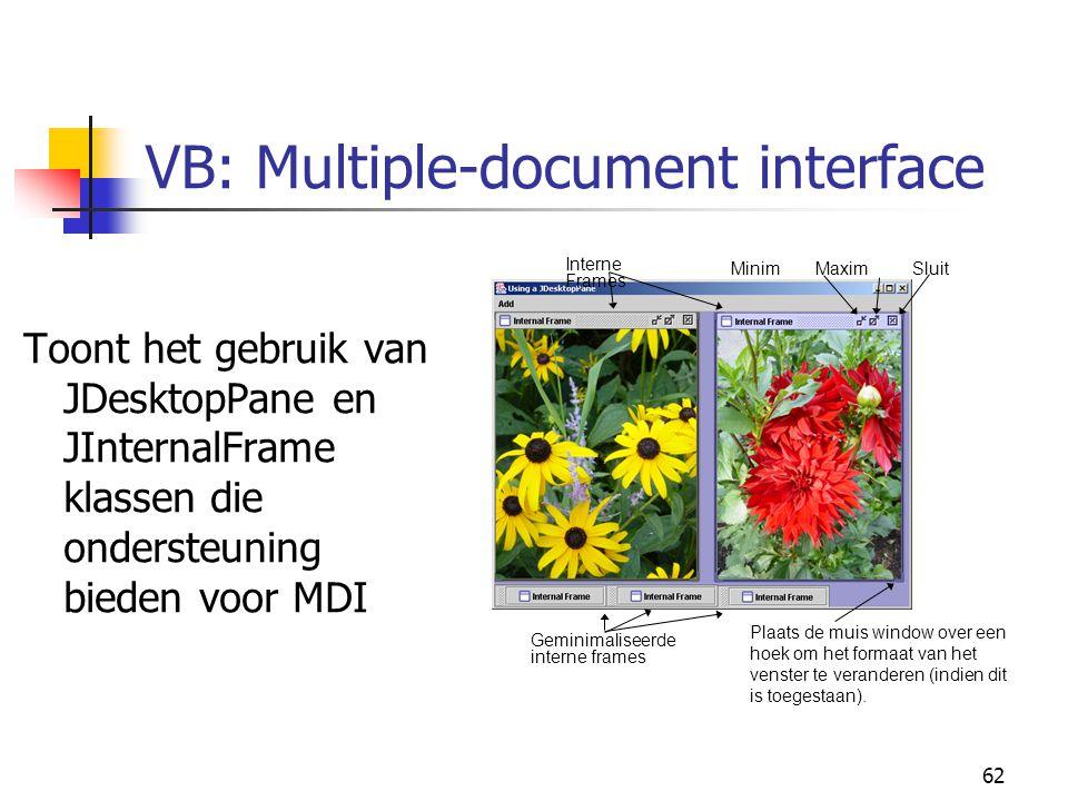 62 VB: Multiple-document interface Toont het gebruik van JDesktopPane en JInternalFrame klassen die ondersteuning bieden voor MDI Interne Frames Minim