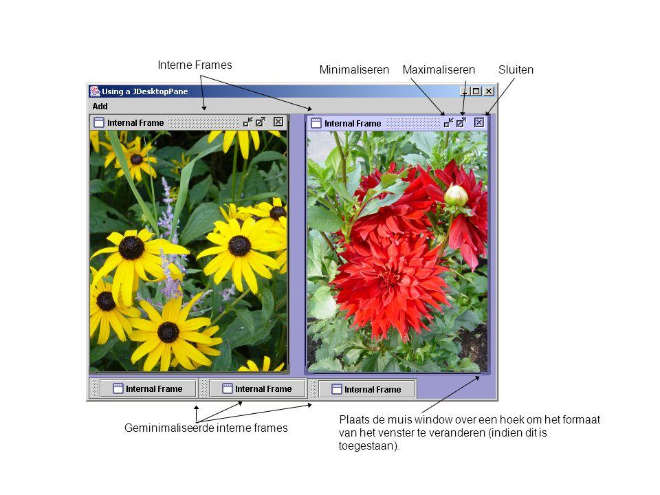 Interne Frames MinimaliserenMaximaliserenSluiten Geminimaliseerde interne frames Plaats de muis window over een hoek om het formaat van het venster te veranderen (indien dit is toegestaan).